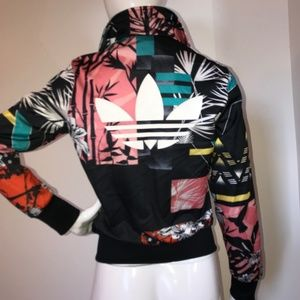 Addidas womens patterned track jacket zip up XS